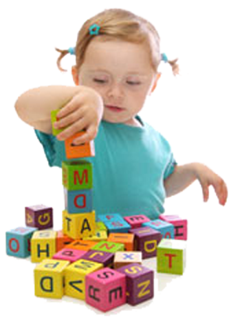 girl playing with letter blocks